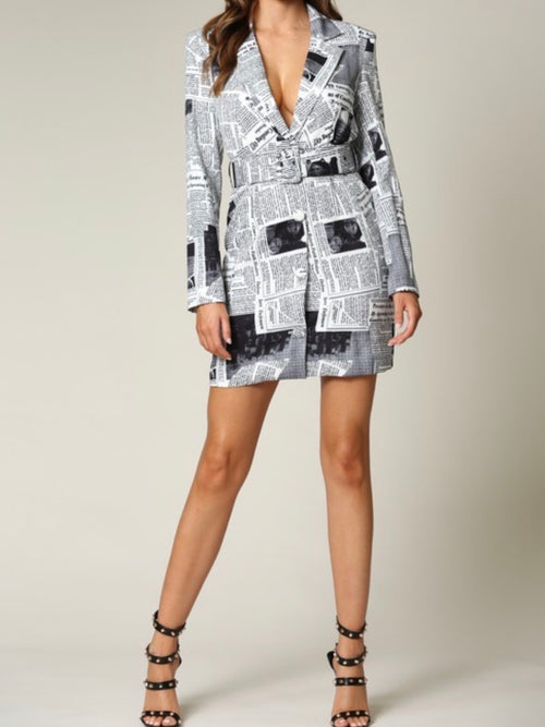 Newspaper Blazer Dress