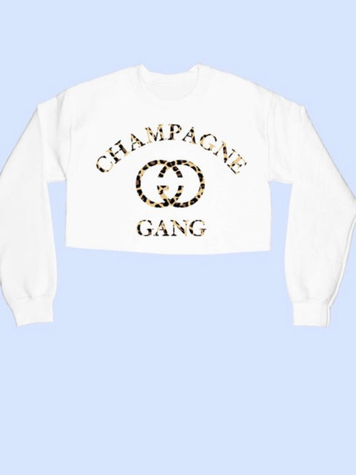 Leopard Champagne Graphic Crop Sweatshirt