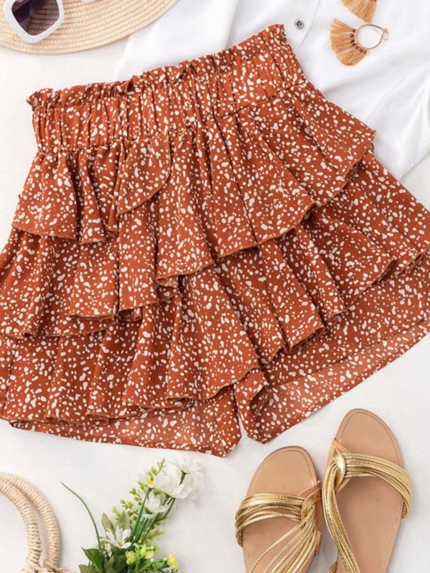 Polka Dot Ruffled Skort