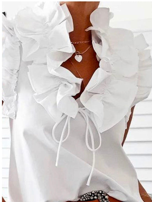 Ruffle Detail Sleeveless Blouse