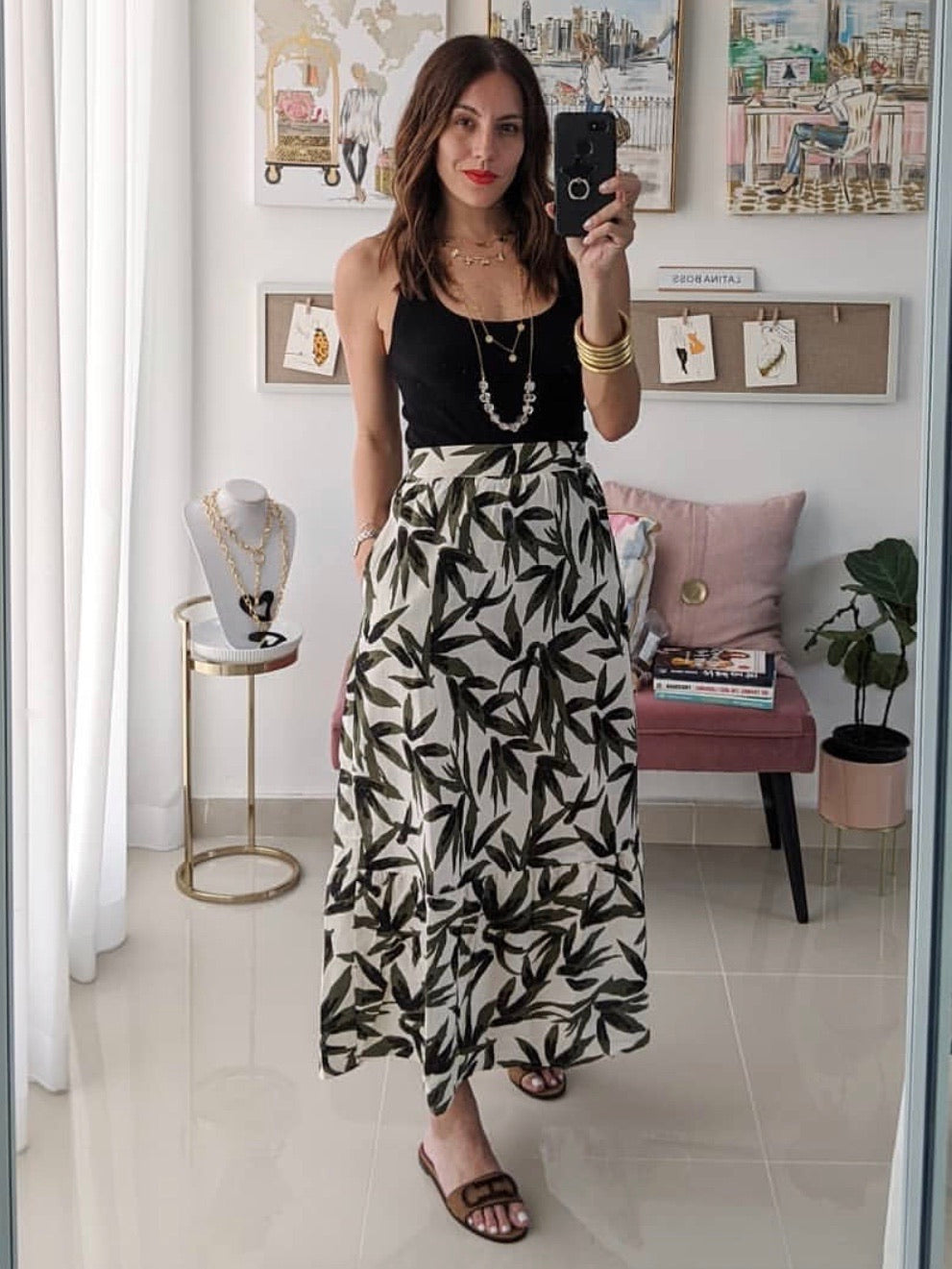 Natural Olive Leaves Midi Skirt