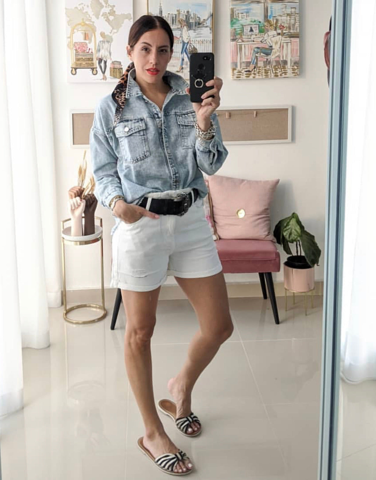 Acid Wash Denim Blouse