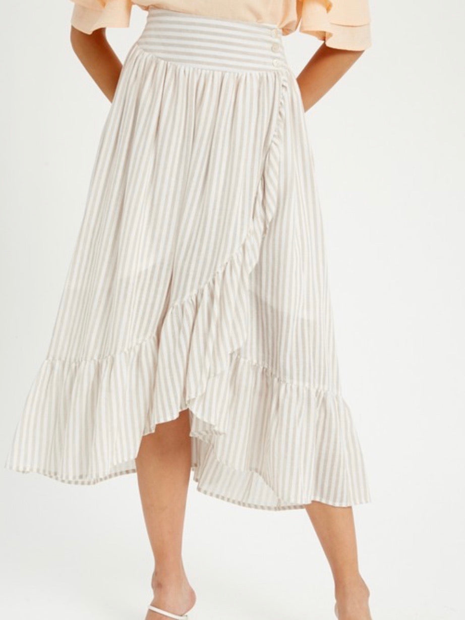Taupe Striped Ruffle Wrap Skirt