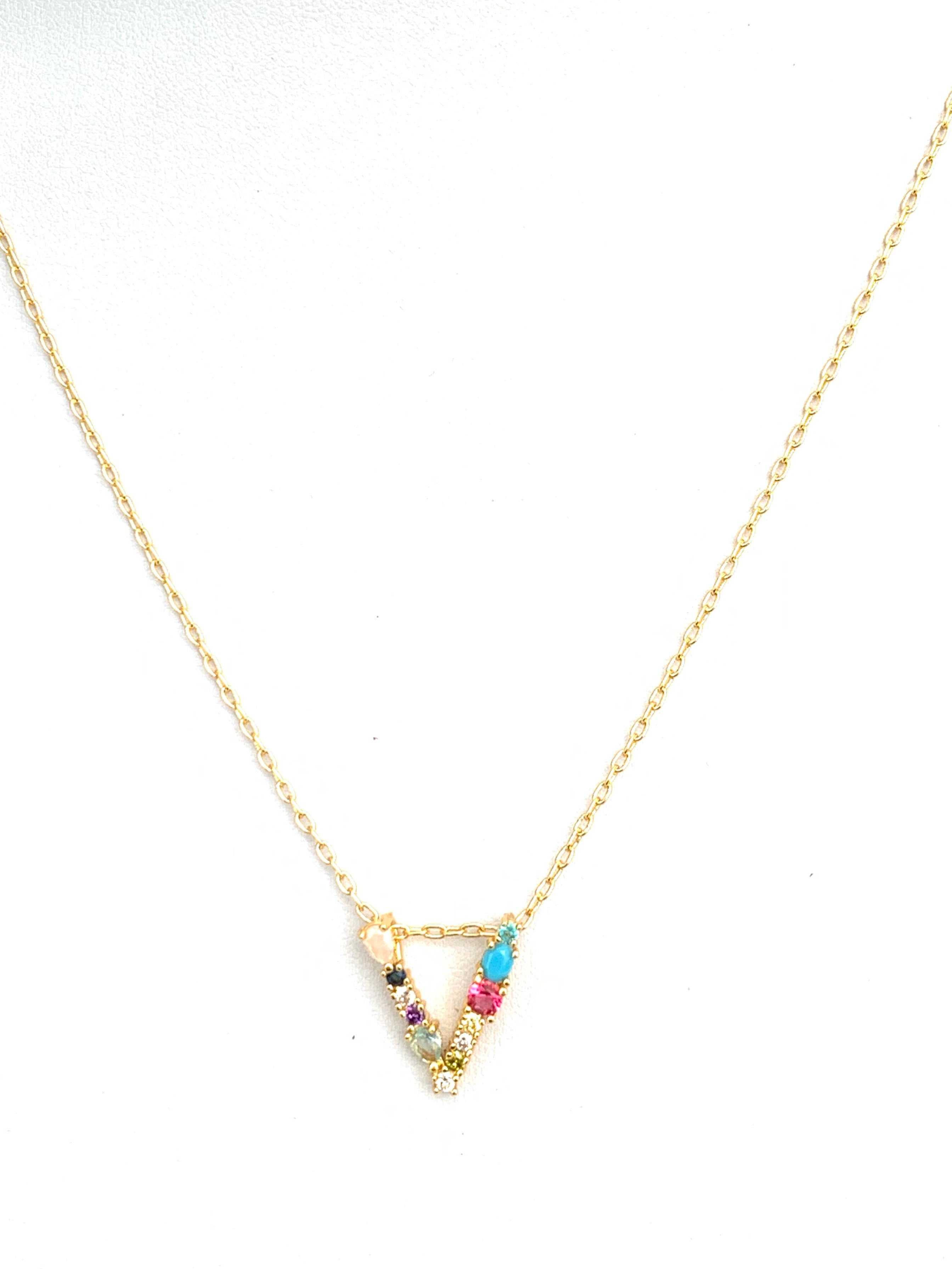 Rainbow Initial Necklace (Small)