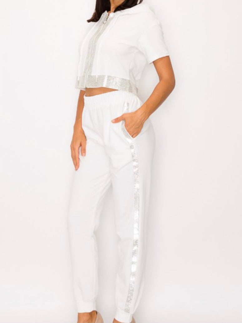White Rhinestone Trim Jogger Set