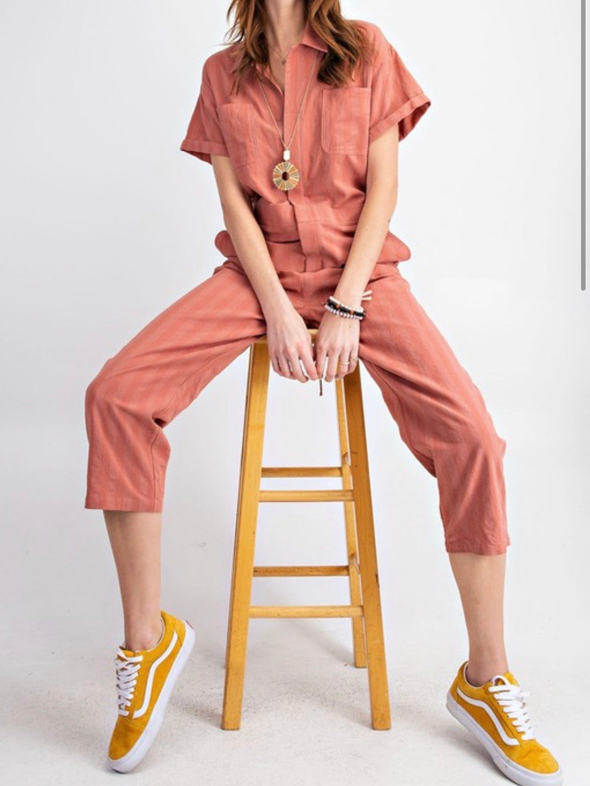 Dried Rose Twill Jumpsuit