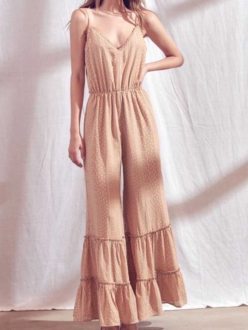 Apricot Tiered Jumpsuit