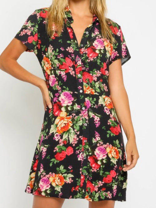 Black Red Floral Blouse Dress