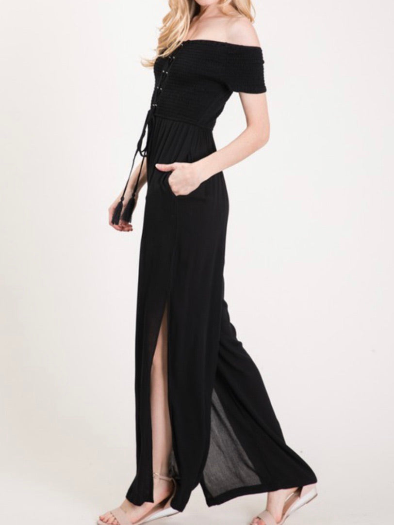 Black Off Shoulder Jumpsuit