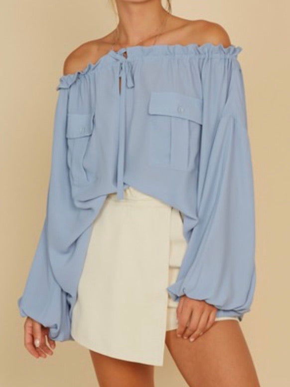 Pocket Detail Off SHoulder Top