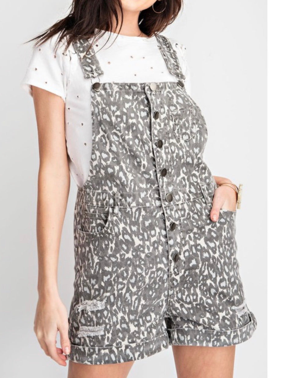 Grey Leopard Short Overall