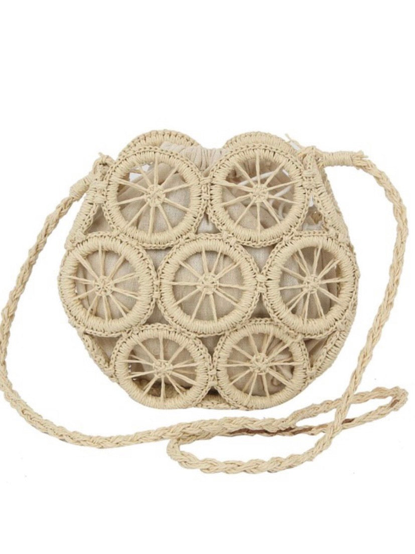 Straw Wheel Crossbody Bag