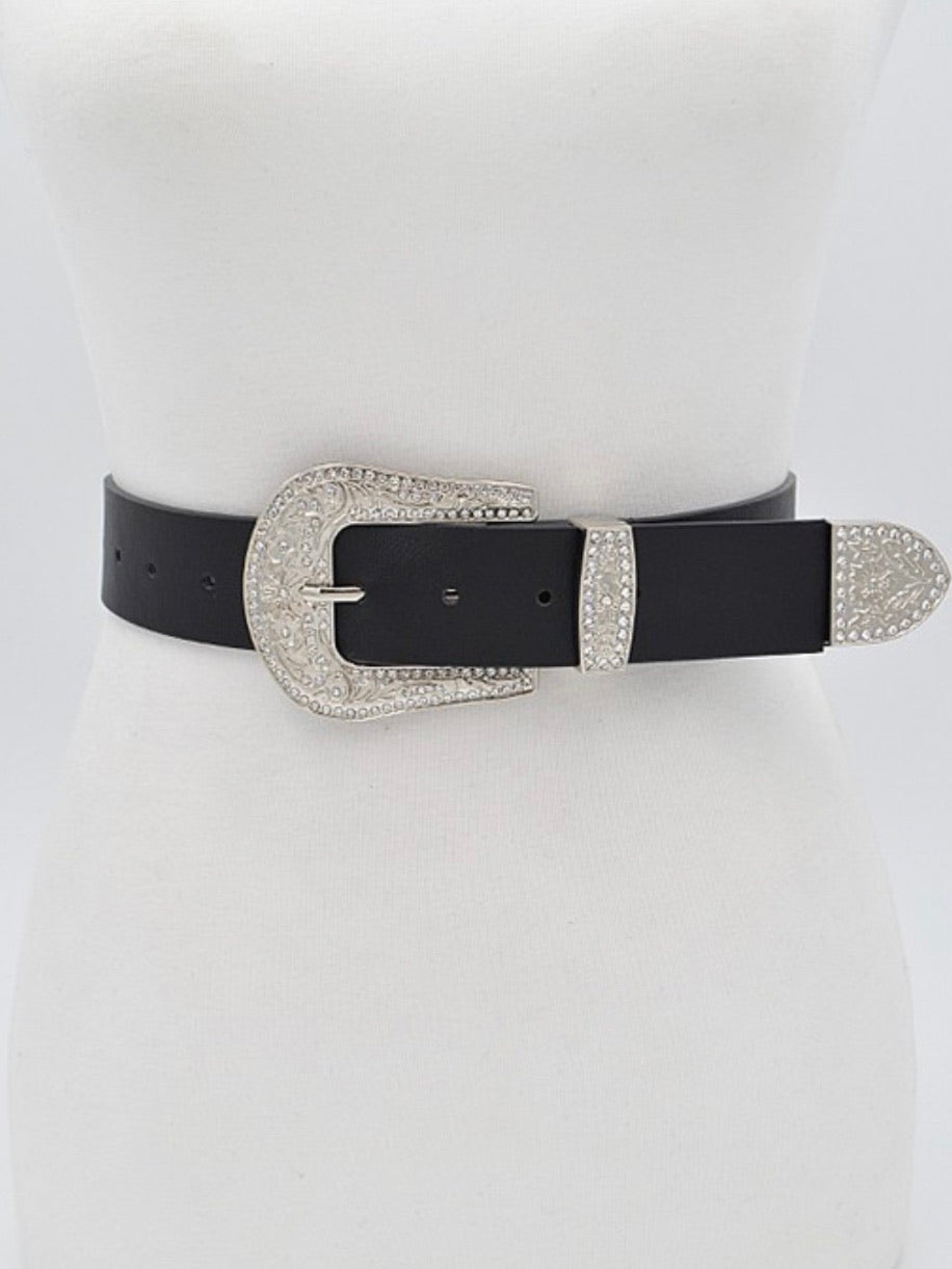 Silver Swirl Buckle Belt