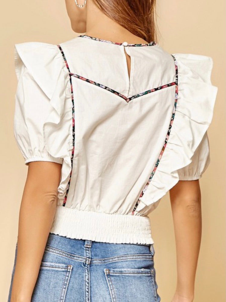 Flutter Sleeve Print Detail Crop Top