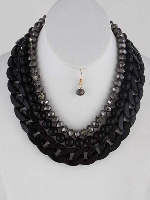 Bead and Chains Layer necklace