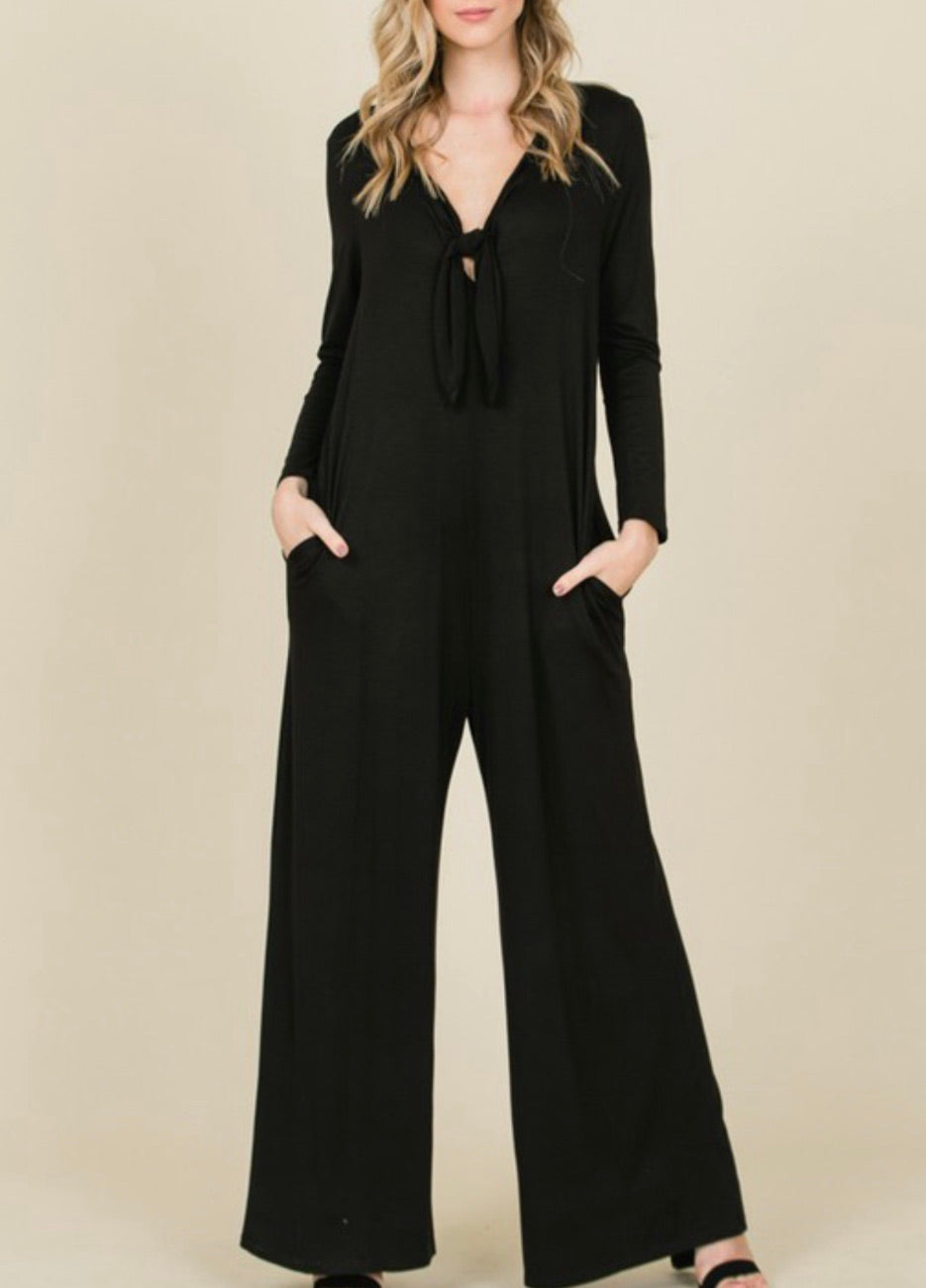 Black Tie Detail Loose Jumpsuit
