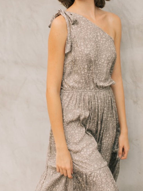 Space Grey Satin Leopard One Shoulder Dress