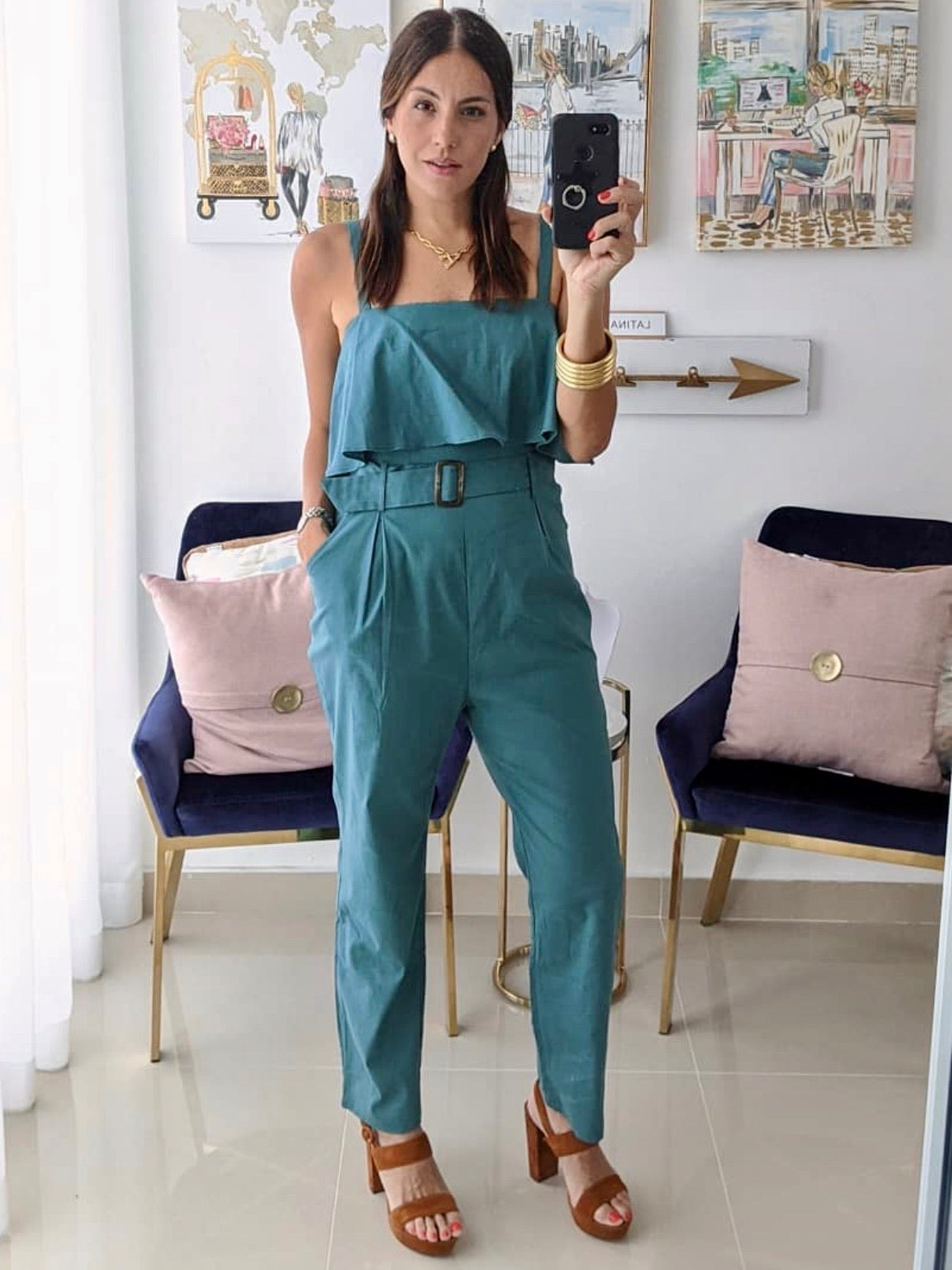 Teal Ruffle Jumpsuit