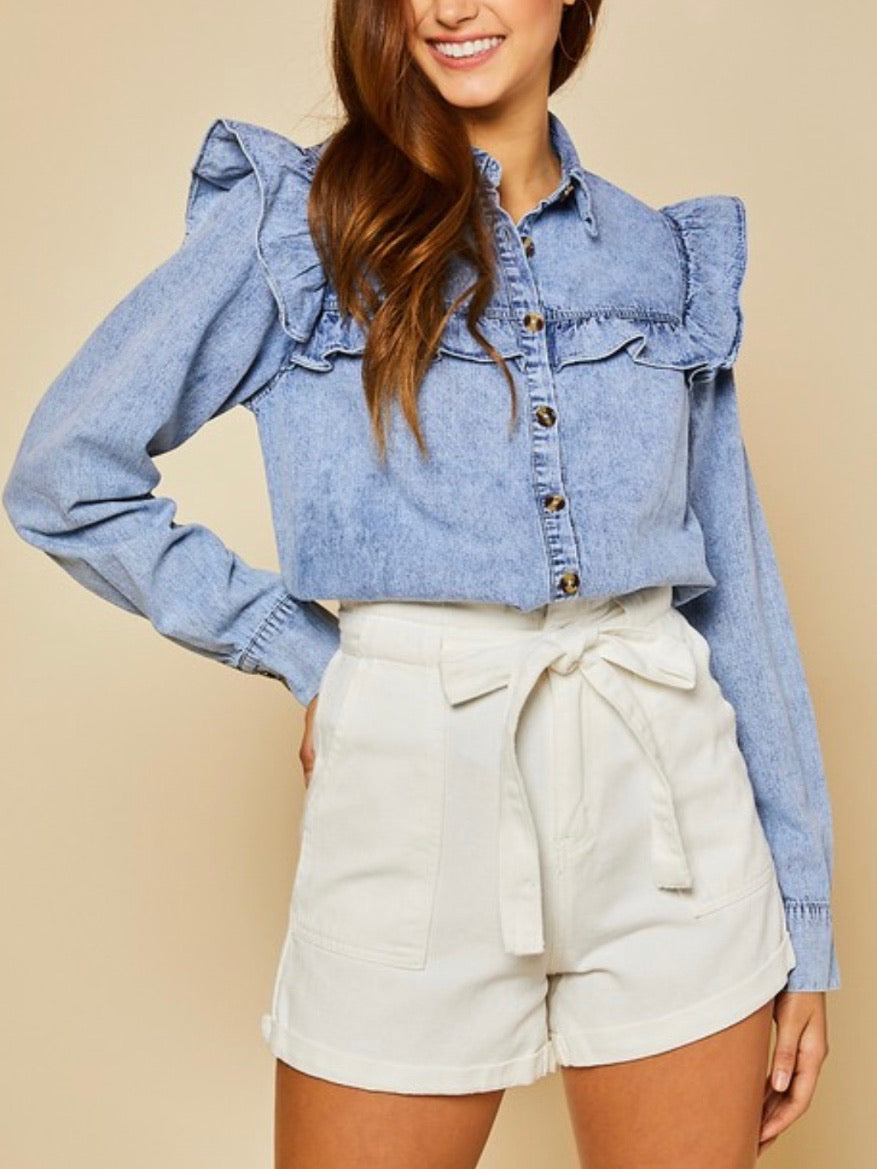 Ruffled Detail Denim blouse
