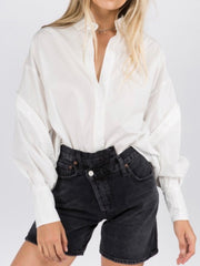White Oversized Button Detail Blouse