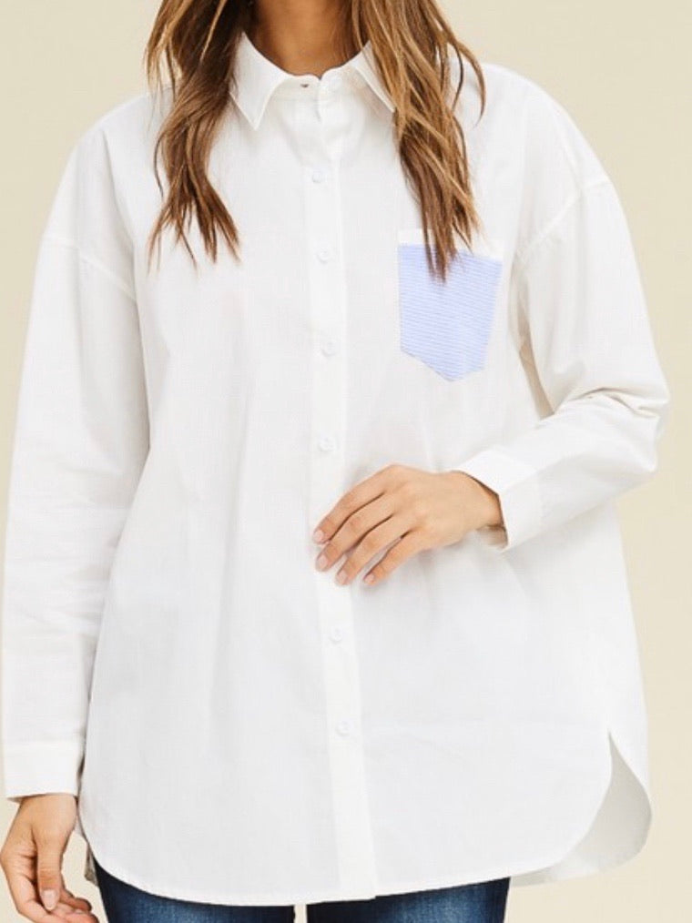 White Blue Pocket Button Down Blouse