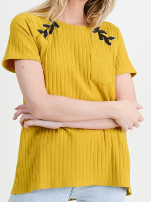Mustard Lace Up Sleeve Top