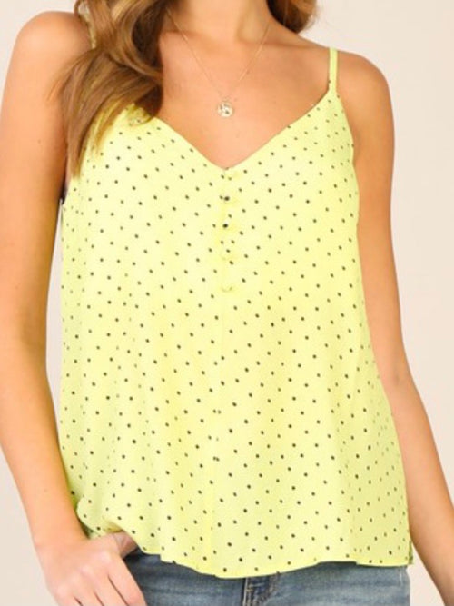 Lime Polka Dot Sleeveless Top