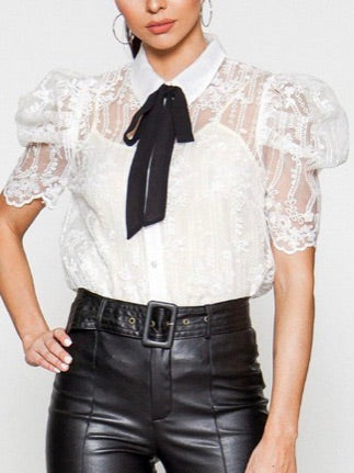 White Embroidered Organza Blouse