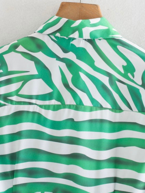 Green Zebra Button Down Midi Dress