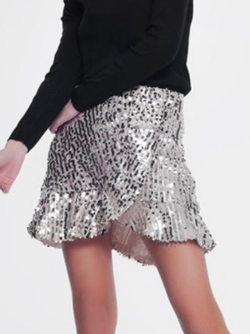 Pleather Tulle Mix Midi Skirt