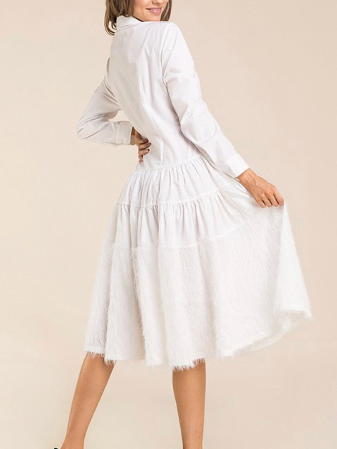 White Feather Detail Blouse Dress