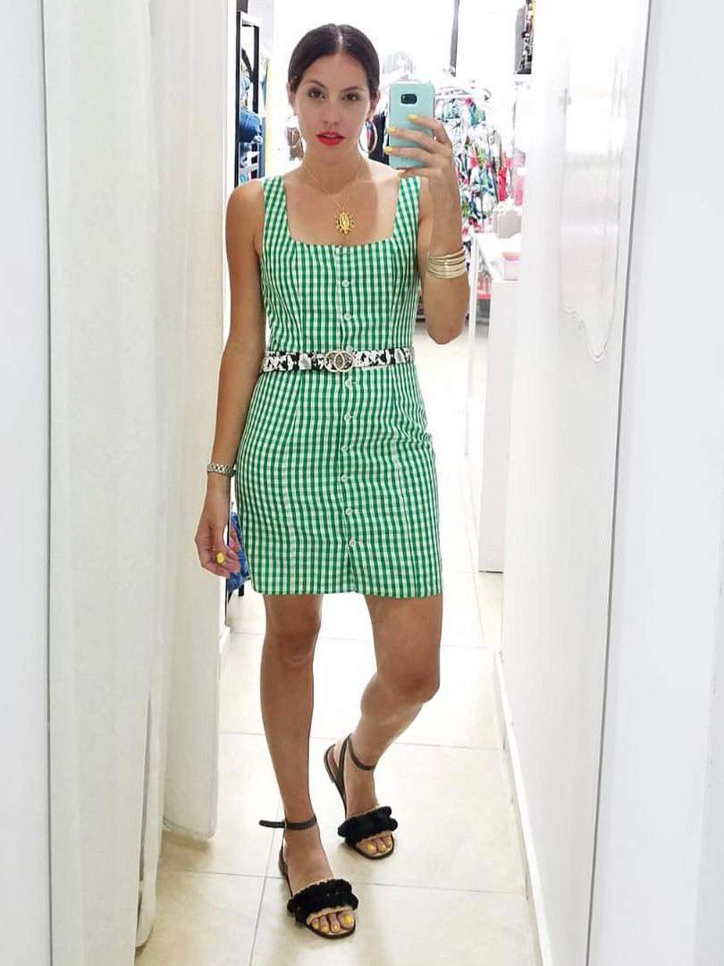 Green Gingham Woven Dress