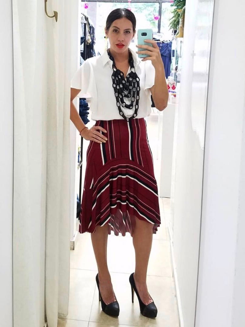Burgundy Striped Asymmetric Skirt