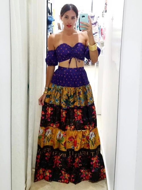Bohemian Purple Maxi Skirt