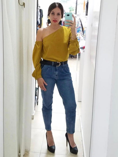 Mustard One Shoulder