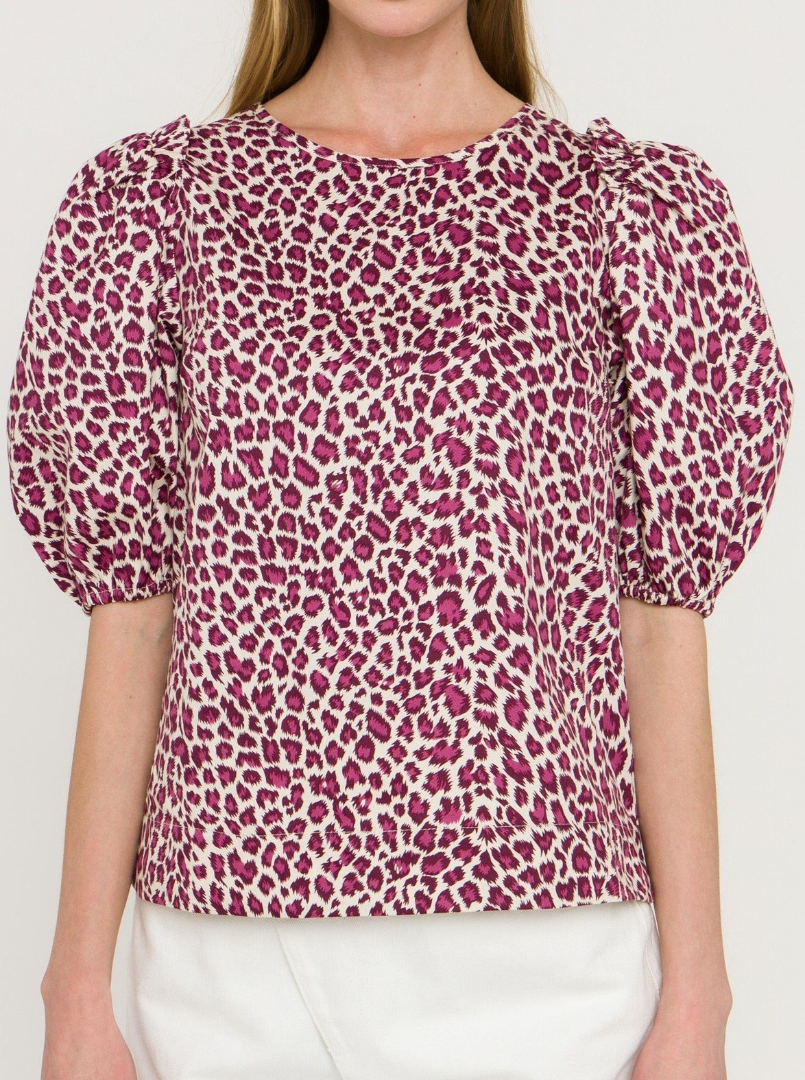 Ivory Plum Leopard Print Sleeveless Top