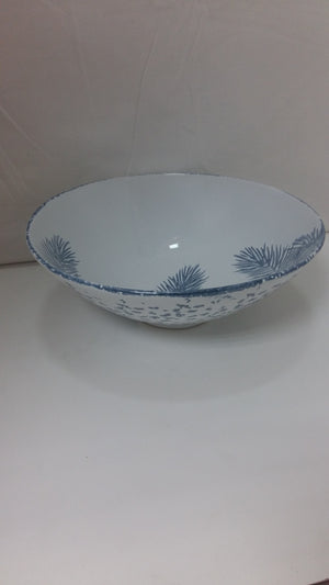 Salad Bowl / Fruit Bowl Porcelain White & Blue