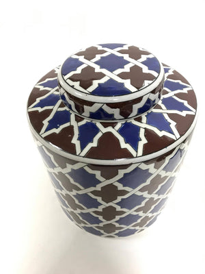 Patterned Ceramic Vase with Lid