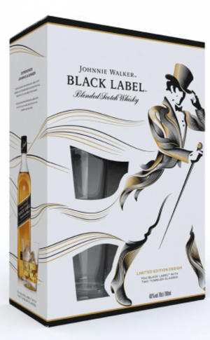 JOHNNIE WALKER BLACK LABEL WITH GLASSES