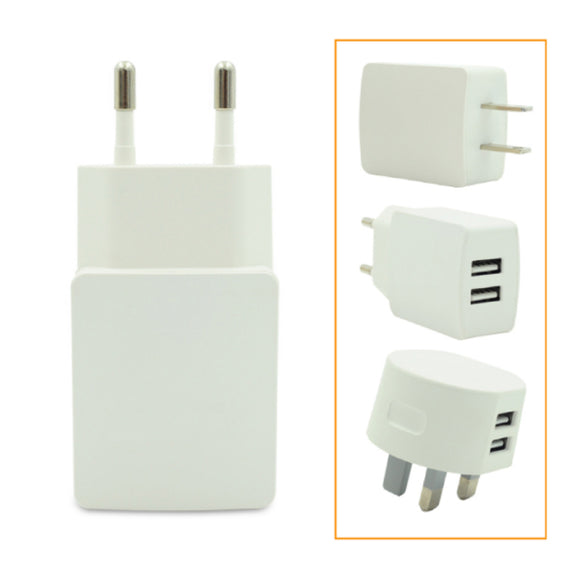 Dual-Port USB Charger Worldwide Travel Adapter