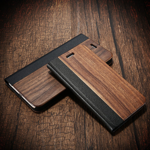 Bamboo Wood Leather Flip Mobile Phone Case