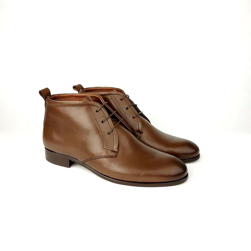 1096 botte en cuir marron vintage