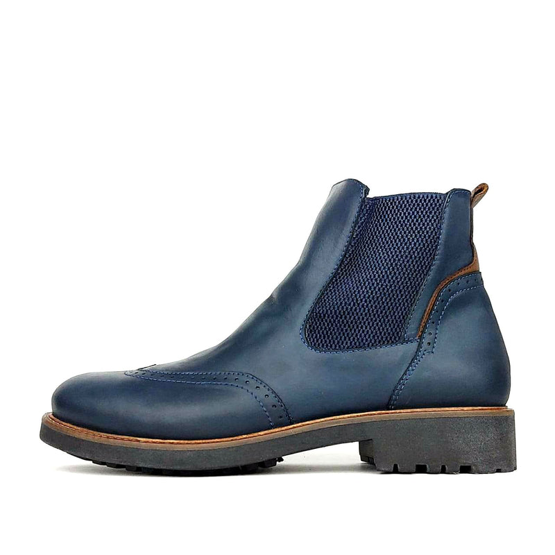 705 bottine en cuir bleu