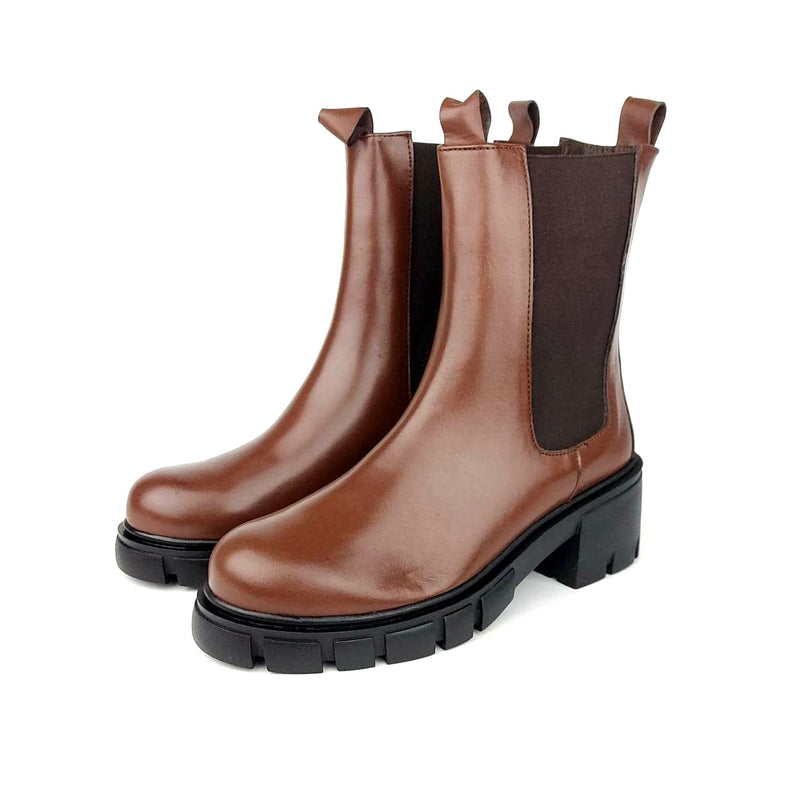 1002 botte en cuir marron