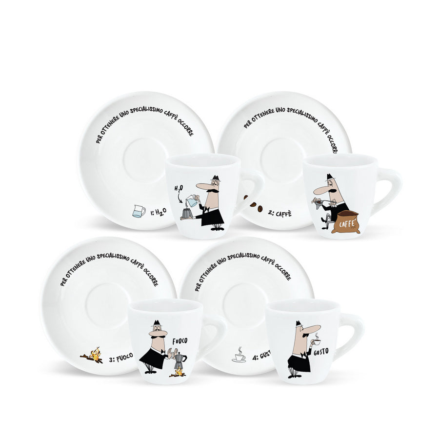 "Bialetti ""How to Make"" Espresso Cup Set (4)"