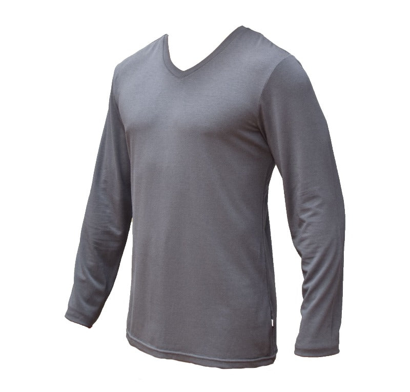 Top Bamboo V-Neck Mens - Long Sleeve