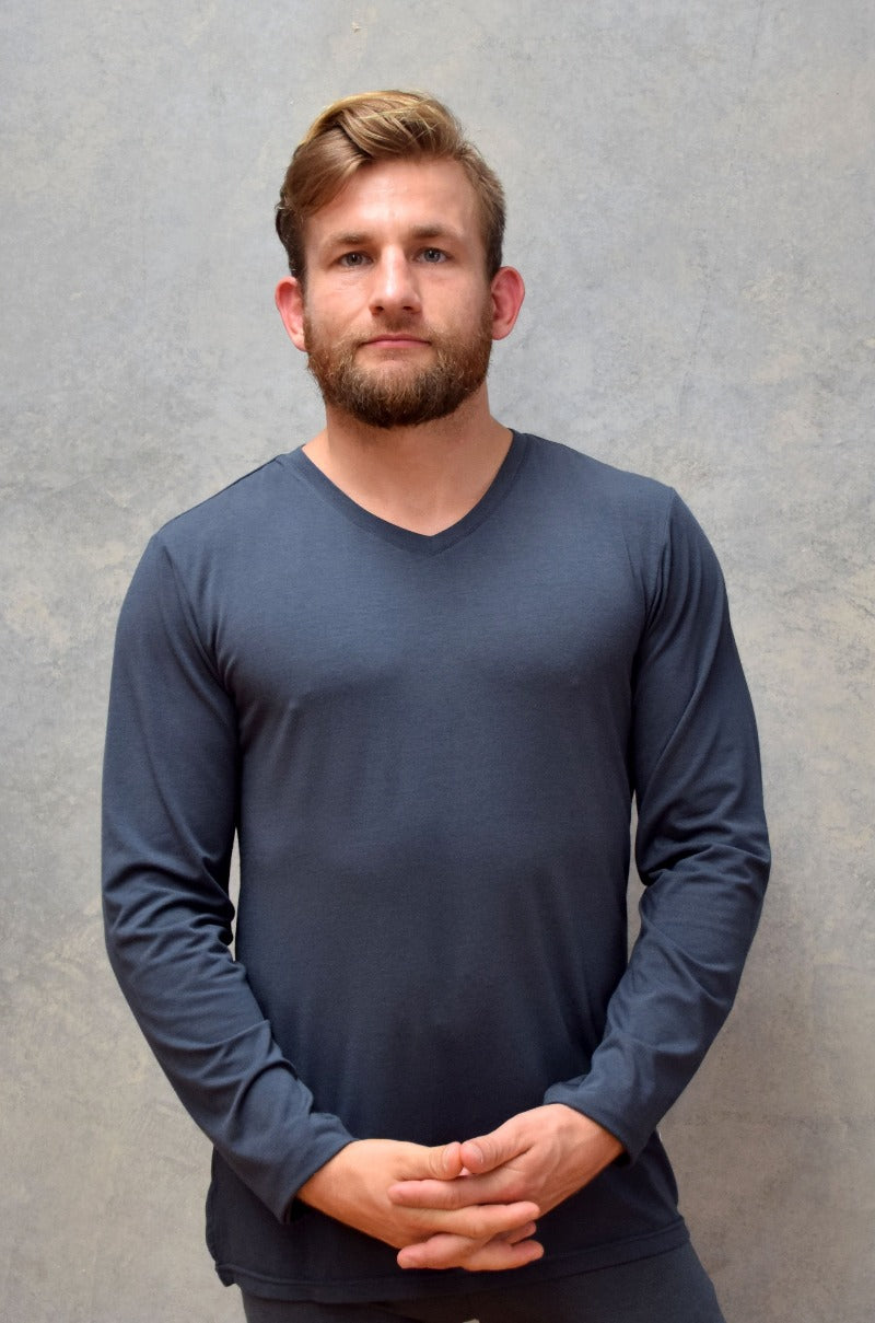 Top Bamboo V-Neck Mens - Long Sleeve - Earth to Life