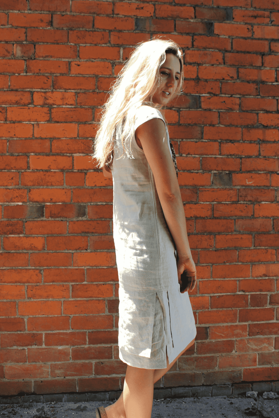 Zeega 100% Linen Cap Dress