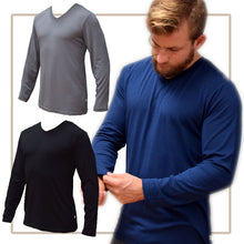 Load image into Gallery viewer, Top Bamboo V-Neck Mens - Long Sleeve - Earth to Life