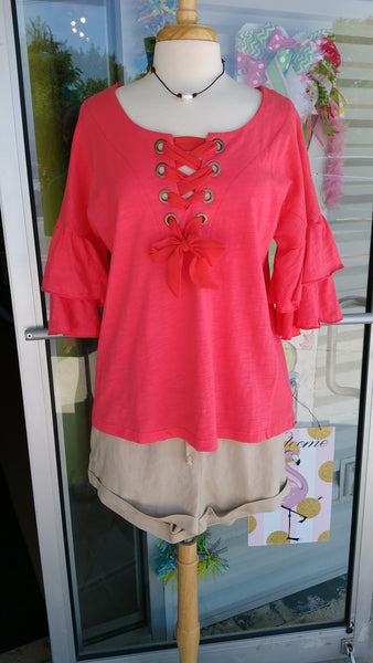 Ruffle Lace-Up Top-Strawberry